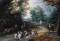 A wooded landscape with travellers - Jan The Elder Brueghel