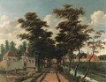 An avenue between two canals with a horseman and a dog - Jan Gabrielsz. Sonje