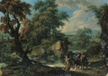 A wooded river landscape with the Flight into Egypt - Jan Frans van Orizzonte (see Bloemen)