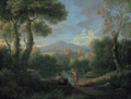 A classical landscape with two shepherds by a lake, a village beyond - Jan Frans van Orizzonte (see Bloemen)