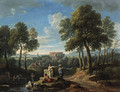 A classical landscape with figures by ruins - Jan Frans van Orizzonte (see Bloemen)