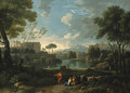 An Italianate landscape with a lakeside - Jan Frans van Orizzonte (see Bloemen)