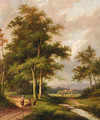 A wooded river landscape with travellers - Jan Evert Morel