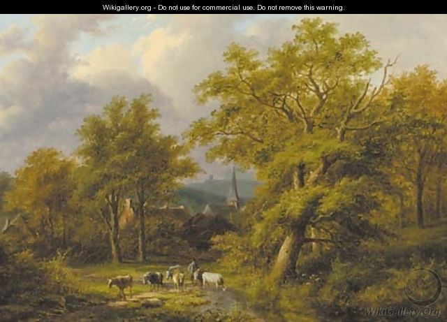 A wooded landscape with a herdsman with flock - Jan Evert Morel