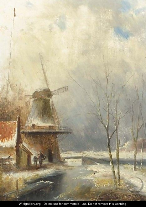 A winter landscape with peasants conversing by a windmill - Jan Evert Morel