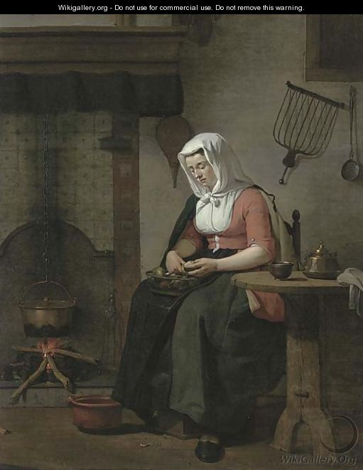 A woman seated in a kitchen peeling apples - Jan the Younger Ekels