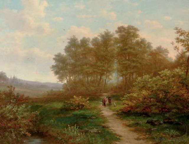 A sportsman conversing on a sunlit path - Jan Hermanus Melcher Tilmes