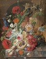 Irises, peonies, roses, and other flowers surrounding a terracotta urn, with a birds' nest, grapes, and plums - Johannes Hendrick Fredriks