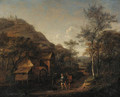 A wooded landscape with peasants on a path by a watermill, a hill beyond - Jan Steen