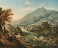 A Rhenish landscape with peasants and boats in the foreground, a town beyond - Jan Griffier