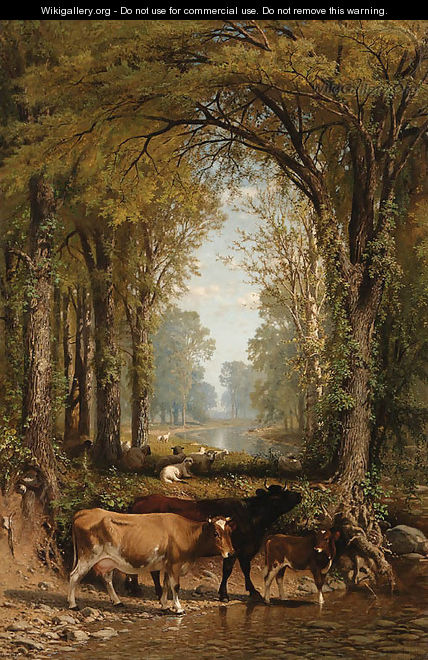 Cows and Sheep by a Stream - James McDougal Hart