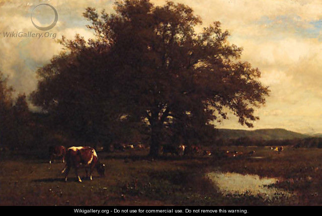 Cattle grazing before a Pond - James McDougal Hart