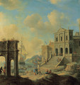 A capriccio of an Italianate harbour capriccio with the Arch of Constantine and a church with figures, shipping beyond - Jan Abrahamsz. Beerstraten