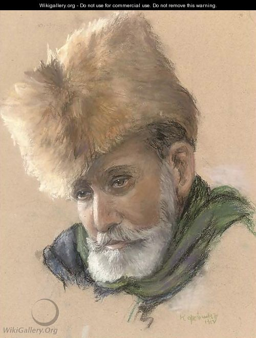 Portrait of a bearded man in a fur hat 2 - Russian School