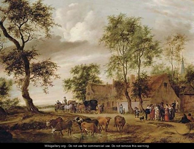 A village landscape with carriages outside an inn, peasants conversing on a path and cattle watering - Salomon van Ruysdael