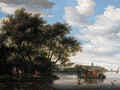 A view of the River Vecht, with a ferry and fishermen unloading their boat, Nijenrode castle beyond - Salomon van Ruysdael