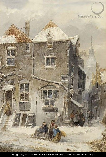 A view of a snow-covered town - Salomon Leonardus Verveer