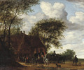 A wooded landscape with travellers by an inn - Salomon van Ruysdael