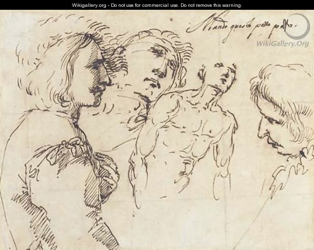 A young man, half-length, in a plumed hat, in profile to the right, with two studies of heads and another of a nude, half-length - Salvator Rosa