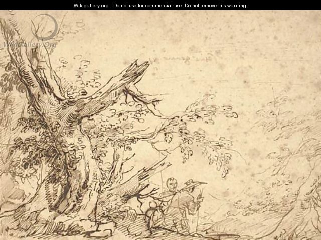 A wooded landscape with travellers on a path - Salvator Rosa