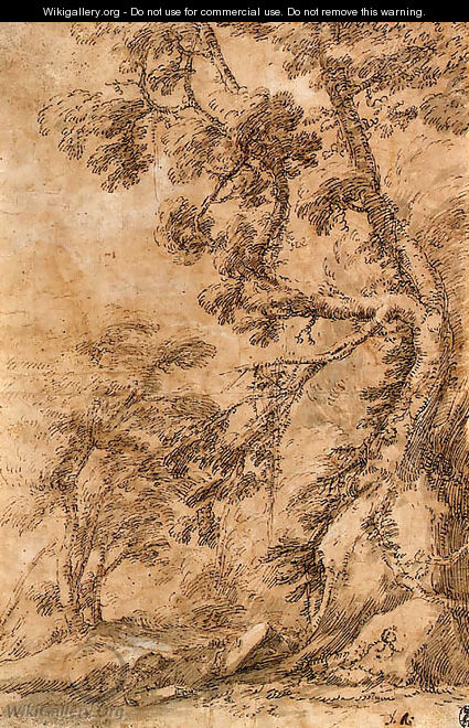 A figure lying by a tree below a cliff - Salvator Rosa