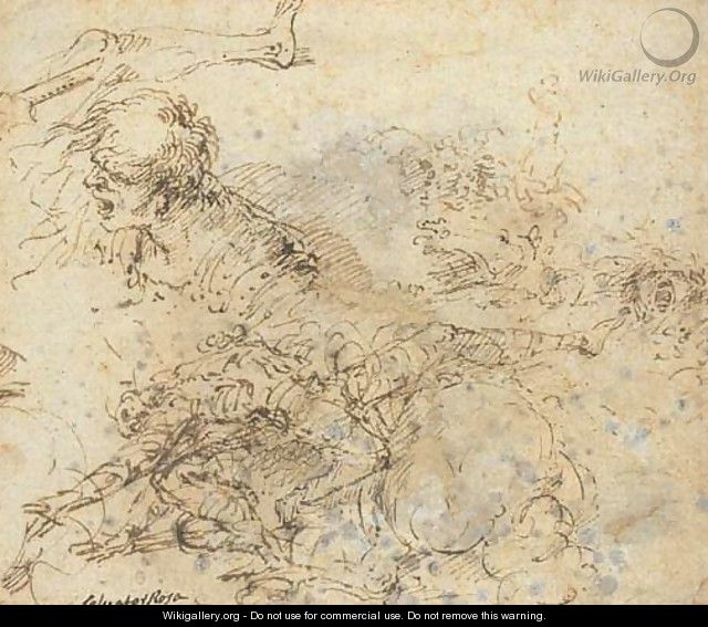 A figure falling from a horse and studies of heads - Salvator Rosa