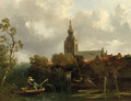 A view of Overschie with fishermen in a rowing boat in the foreground - Salomon Leonardus Verveer