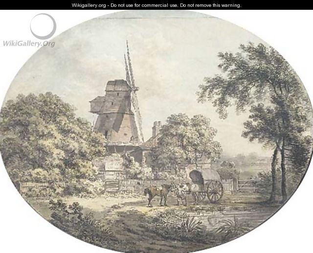 A windmill with horses and a cart by a pond, in the foreground - Samuel Hieronymous Grimm