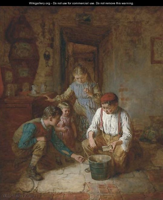 Children in a cottage interior - Robert W. Wright