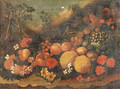 Pomegranates, apples, grapes and other fruit and flowers on a forest floor - Roman School
