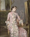 Seated woman in pink - Rogelio De Egusquiza Barrena