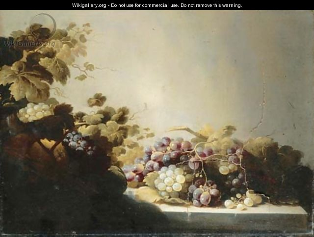 Grapes on a stone ledge with citrus fruits in a basket - Roloef Koets