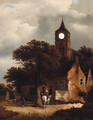 Travellers at an inn on the outskirts of a village, a church beyond - Roelof van Vries