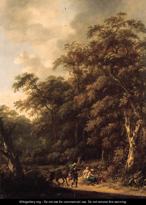 Erminia and the shepherds in a wooded landscape - Roelof van Vries