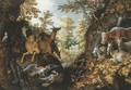 A stag, deers, herons, goats, parrots and other animals in a forest - Roelandt Jacobsz Savery