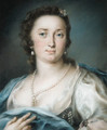 Portrait of a lady, bust-length, in a silver dress with a blue shawl - Rosalba Carriera