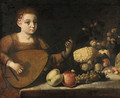 A girl playing a lute by a table laden with fruit - Roman School
