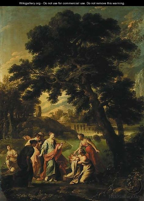 A wooded river landscape with the Finding of Moses, a city and mountains beyond - Roman School