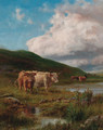 Cattle watering in a highland landscape - Robert Gallon