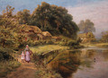 A woman and child crossing a bridge by a lake - Robert Gallon