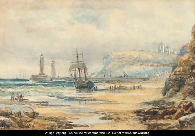 Unloading a beached brig, Whitby - Robert Ernest Roe