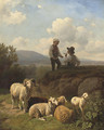 Young shepherds having a smoke - Robert Eberle
