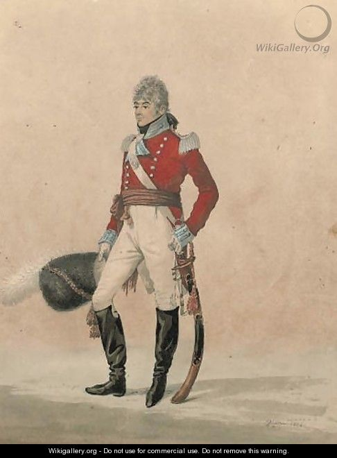 Portrait of Capt John Elliot, standing, full-length, with his sword at his side - Robert Dighton