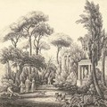 Elegant figures with their dogs in an Italianate park - Harriet Cheney
