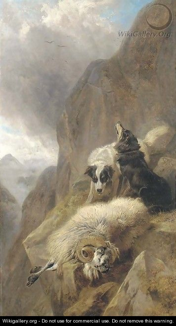 Sheepdogs with a stricken sheep in a mountainous Highland landscape - Richard Ansdell