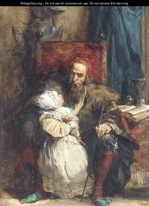 Old man and child - Richard Parkes Bonington