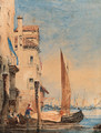 Boats on a canal, Venice - Richard Parkes Bonington