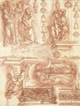 Studies after Michelangelo and other artists, with sketches of capitals, friezes and vases - Robert Ango