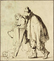A vagrant couple with a dog - Rembrandt Van Rijn