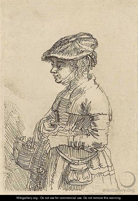A Girl with a Basket - Rembrandt Van Rijn